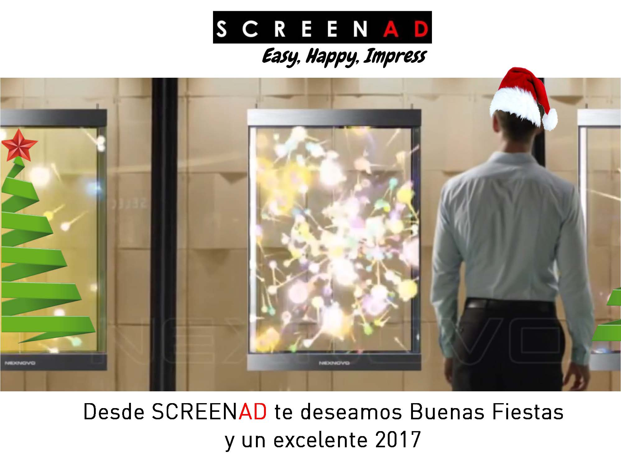 screenad communications, los especialistas de pantallas de led transparentes les desea Feliz 2017