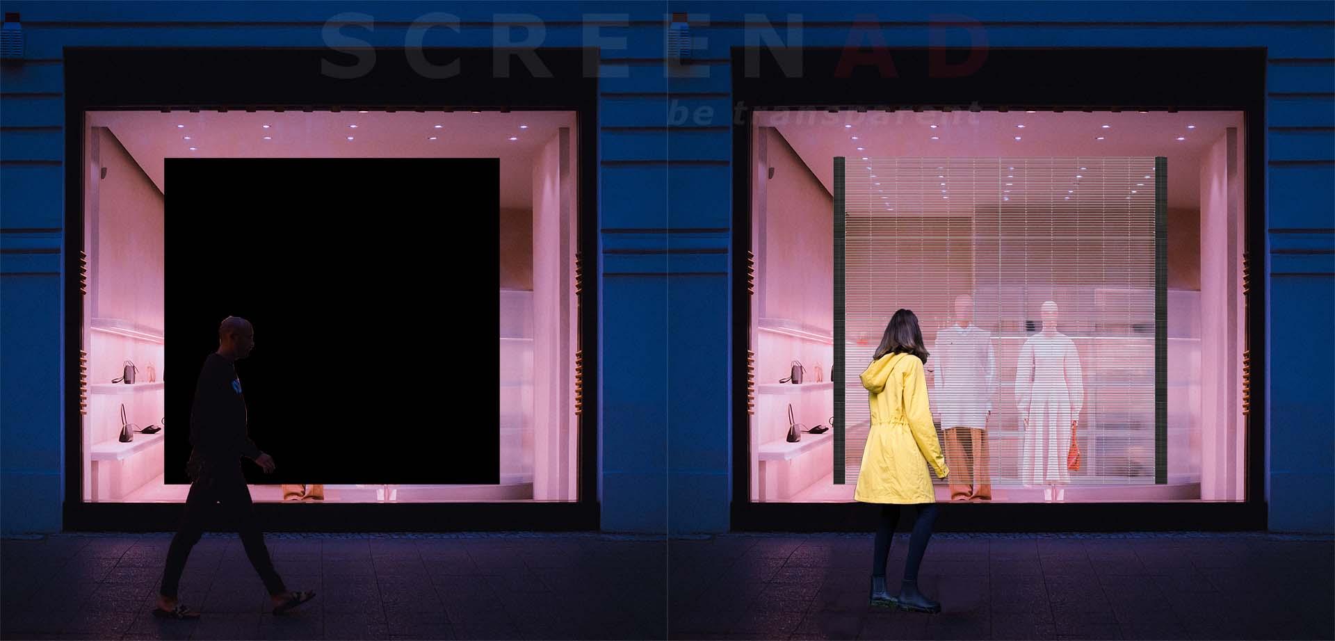 Tienda con pantalla opaca y transparente